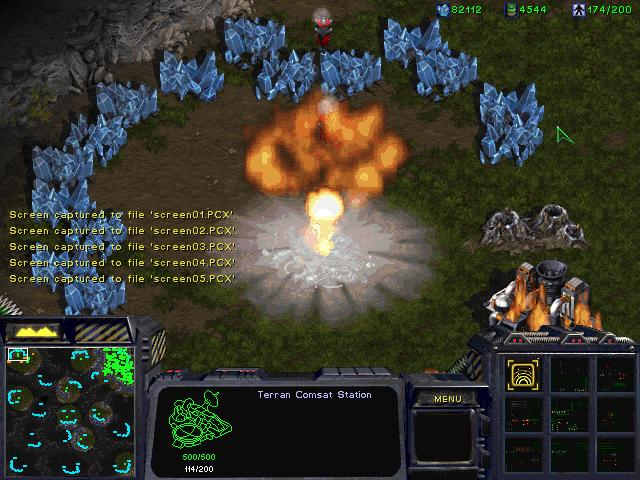 screen shot of a nuclear attack in StarCraft